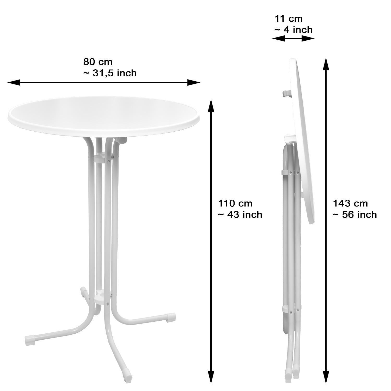 stehtisch klappbar bistrotisch 80 70 60 cm bartisch bistro klapptisch wei grau. Black Bedroom Furniture Sets. Home Design Ideas