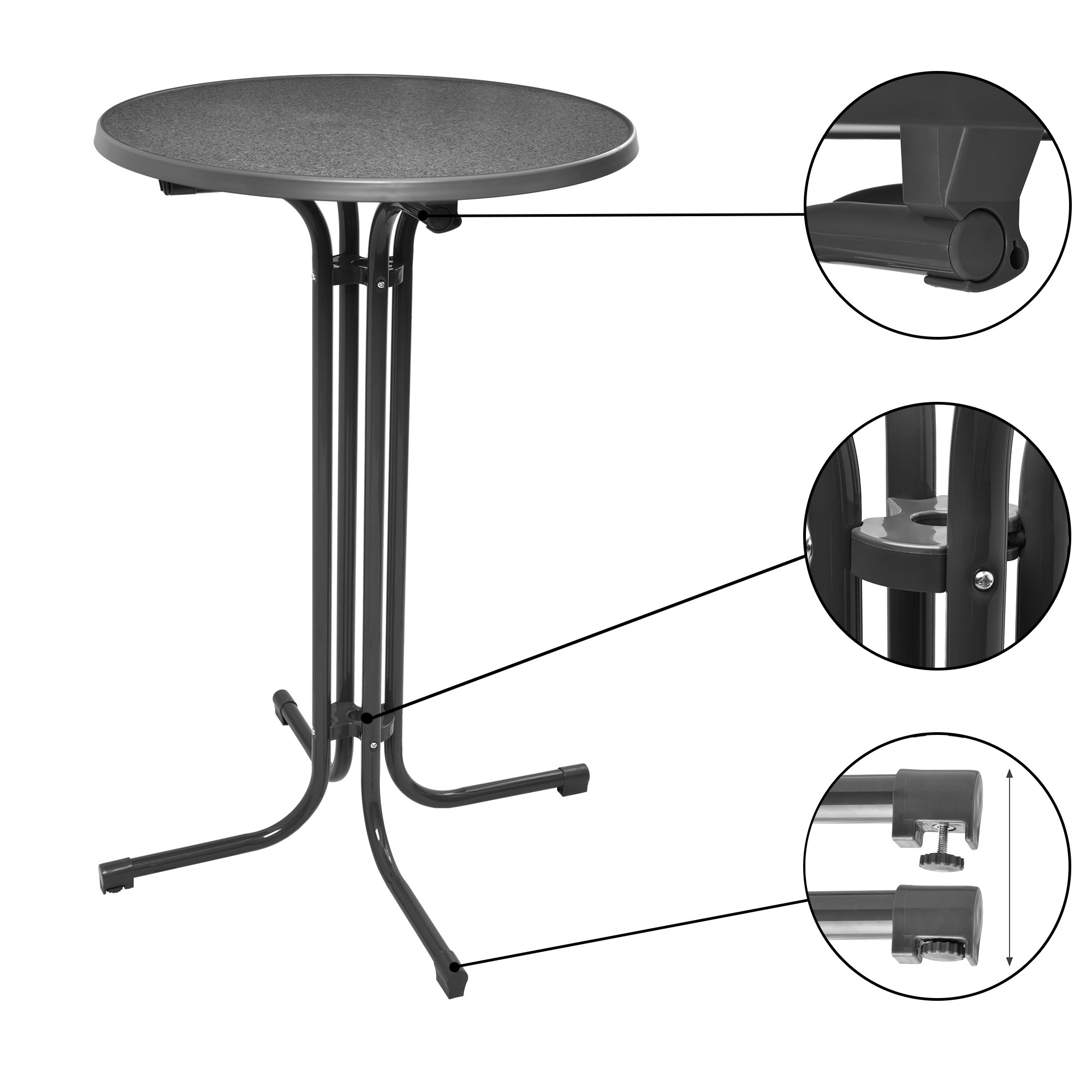 stehtisch bistrotisch klappbar bartisch bistro klapptisch 80 70 60 cm wei grau ebay. Black Bedroom Furniture Sets. Home Design Ideas