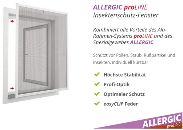 allergic proline insektenschutz fenster alu rahmen fliegengitter pollen schutz ebay. Black Bedroom Furniture Sets. Home Design Ideas